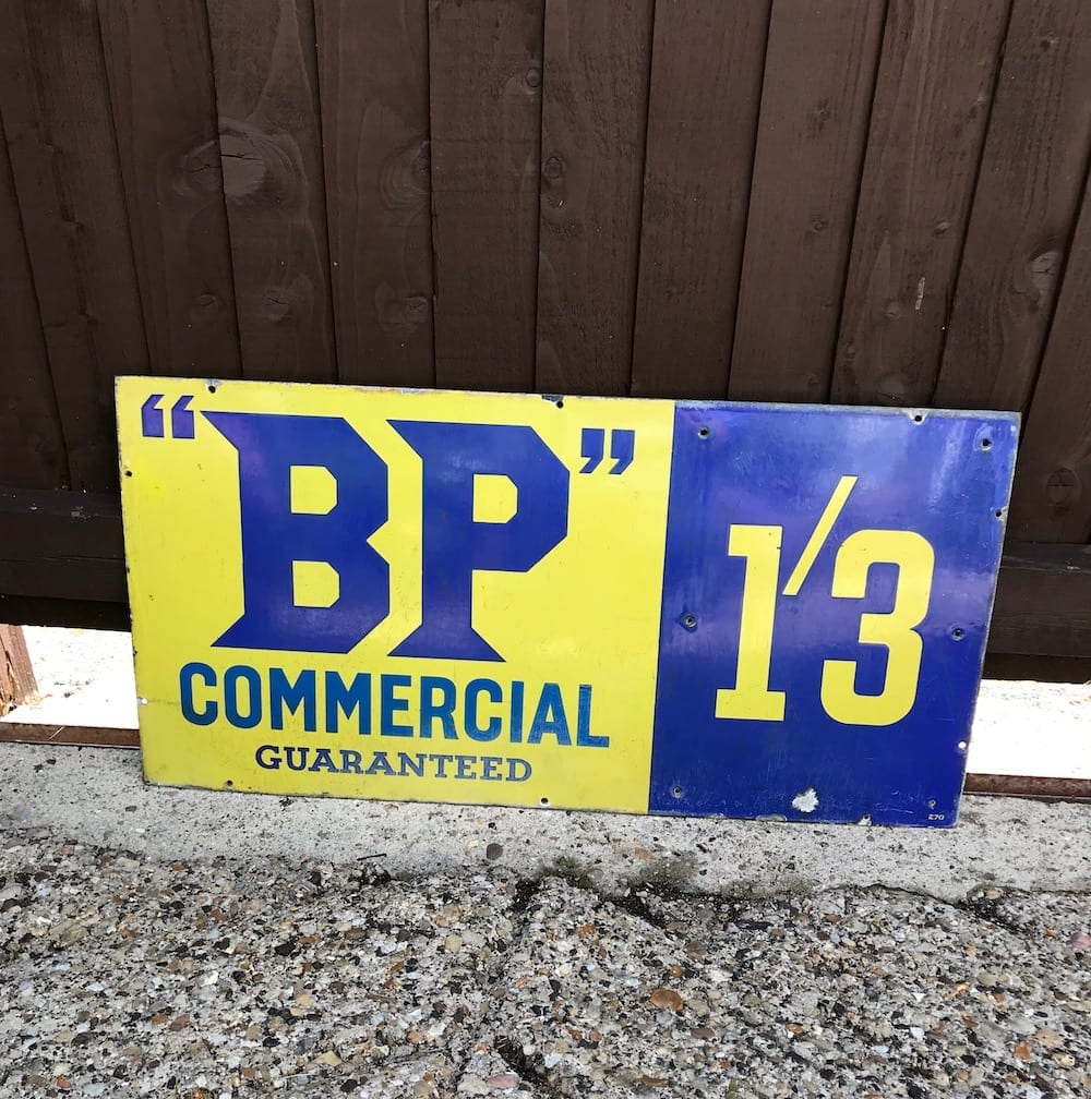 ORIGINAL B.P. COMMERCIAL 1/3d ENAMEL SIGN. - Vintage Motoring UK
