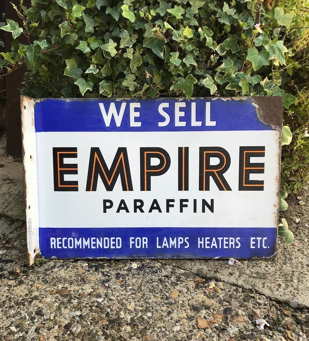 ORIGINAL EMPIRE PARAFFIN DOUBLE SIDED ENAMEL SIGN/ AVAILABLE - Vintage Motoring UK