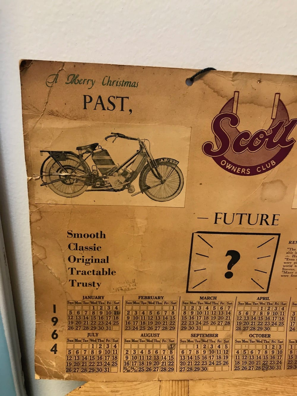 SCOTT OWNERS CLUB 1964 CALENDAR. - Vintage Motoring UK