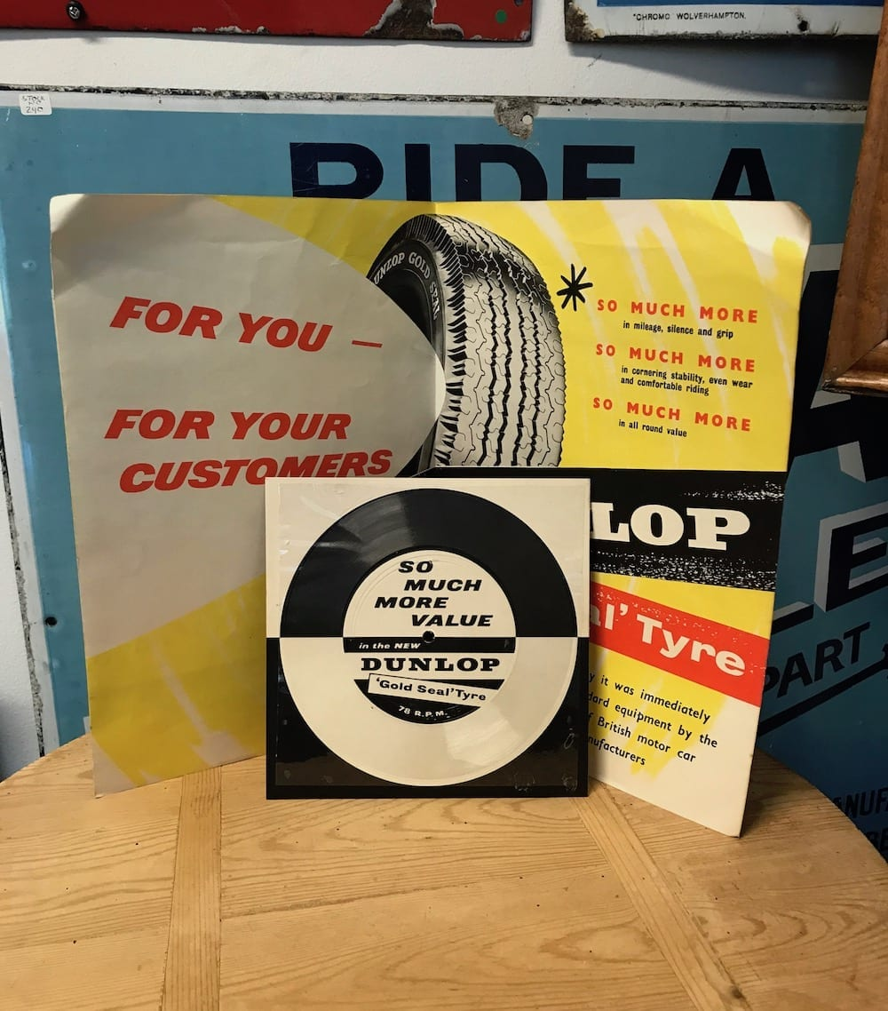 1960s DUNLOP PROMOTIONAL 'GOLD SEAL TYRE' ADVERTISING WITH RECORD. - Vintage Motoring UK