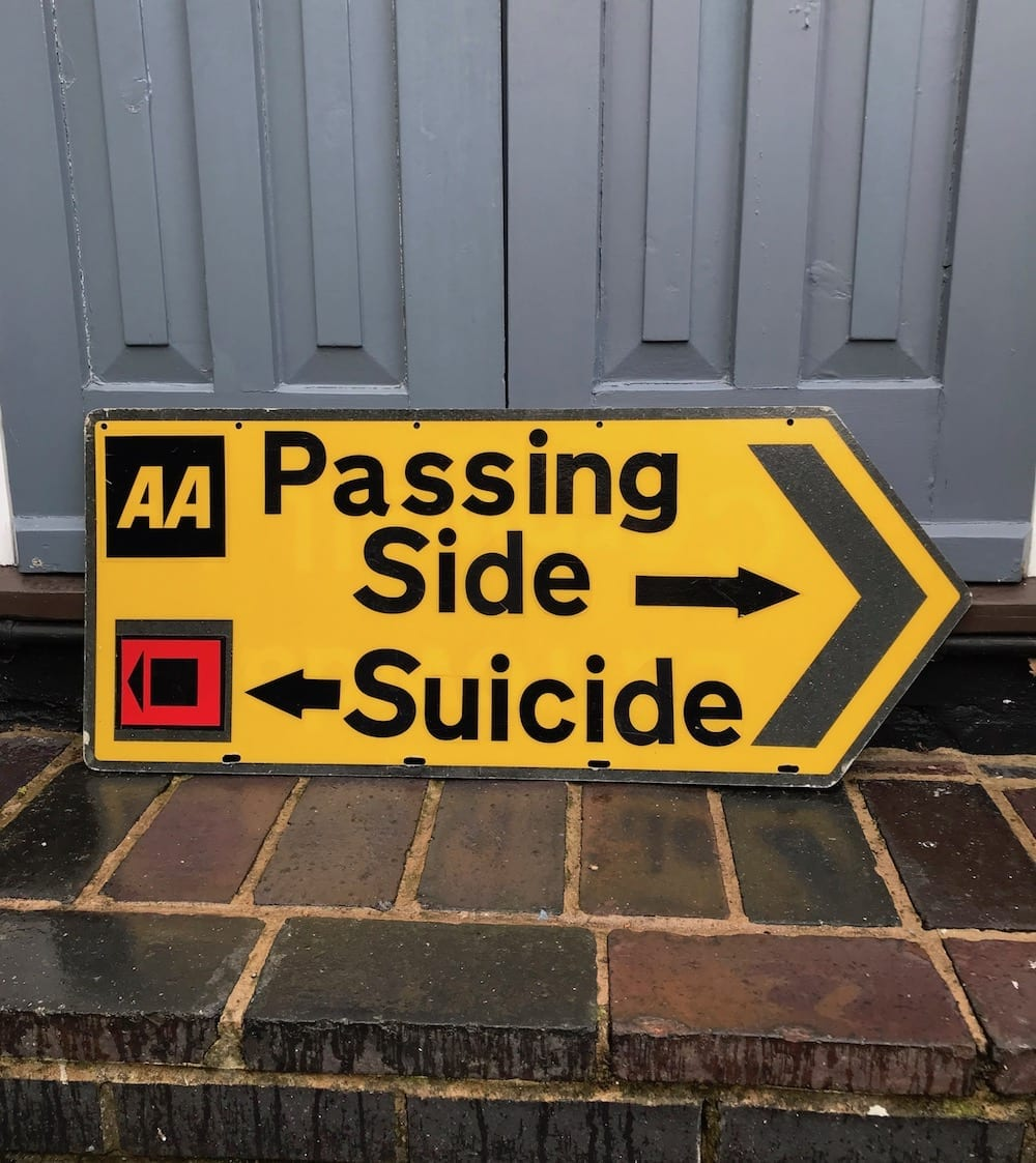 VINTAGE A.A. COATED HARDBOARD SIGN- PASSING SIDE-SUICIDE. - Vintage Motoring UK
