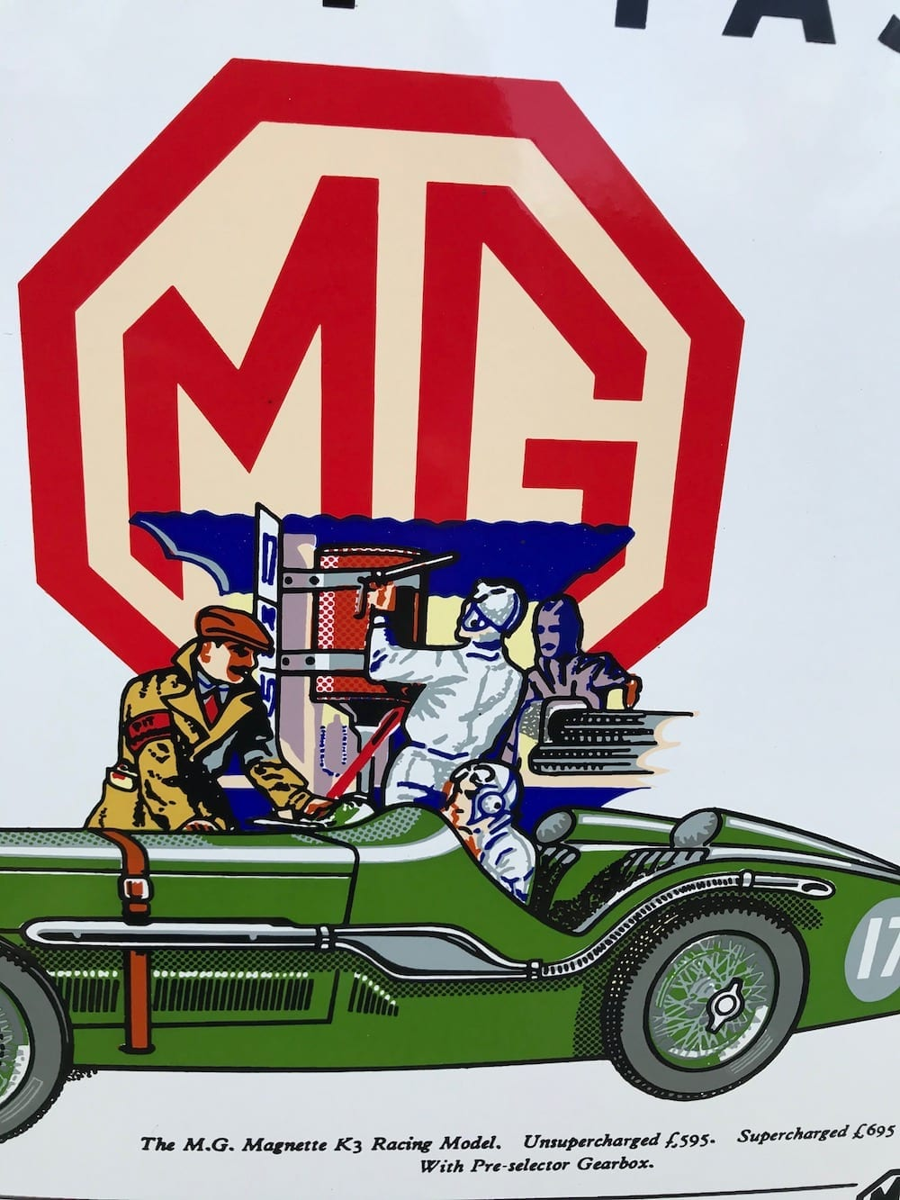 REPRODUCTION 1933 M.G. MAGNETTE 'K' SERIES ENAMEL SIGN/AVAILABLE........... - Vintage Motoring UK