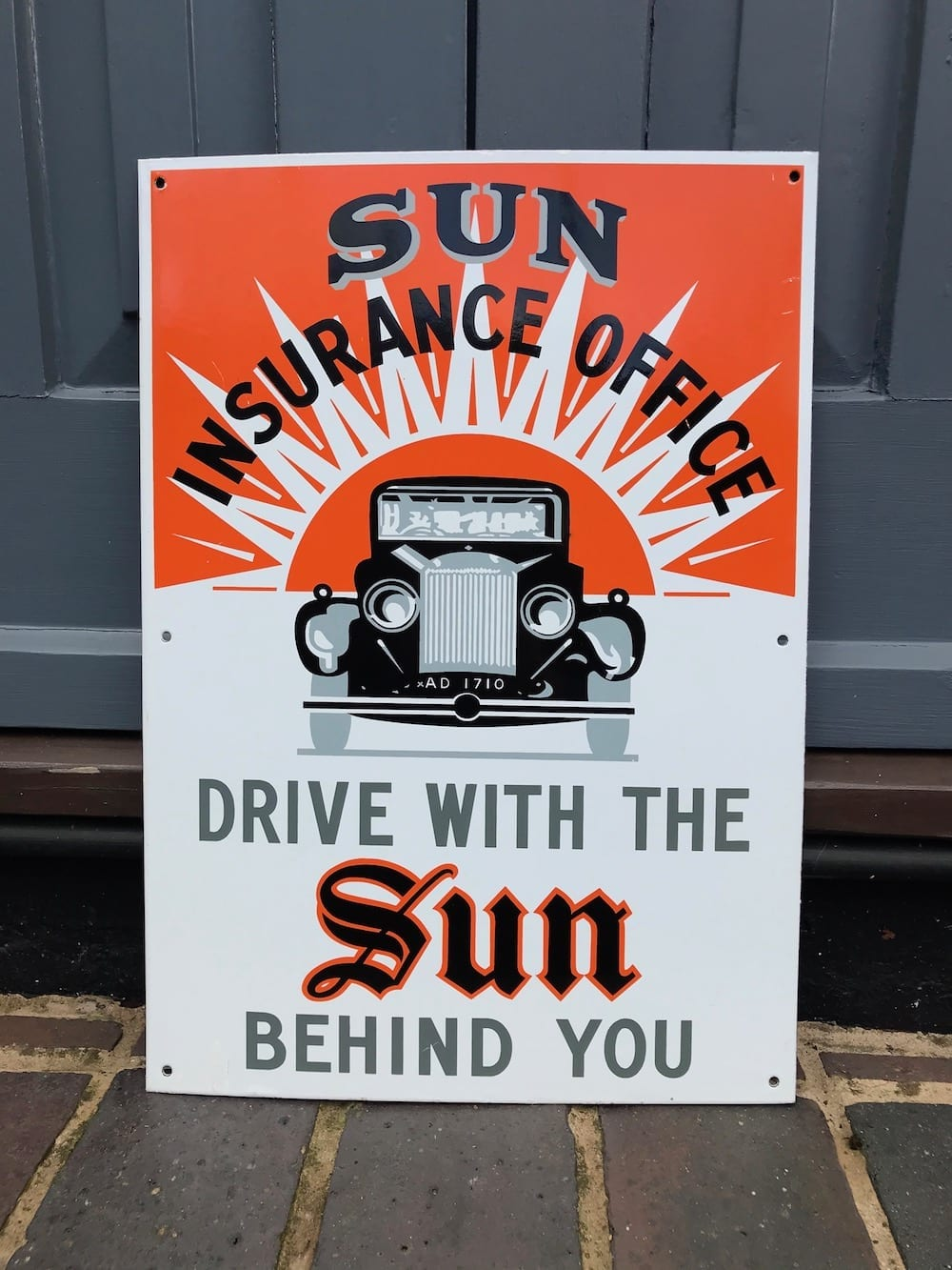 REPRODUCTION SUN INSURANCE OFFICE ENAMEL SIGN/AVAILABLE - Vintage Motoring UK