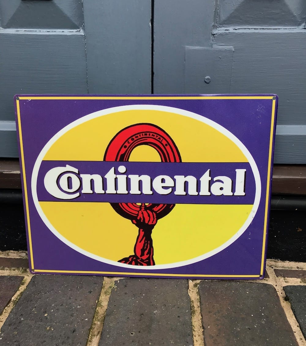 REPRODUCTION CONTINENTAL TYRES TIN SIGN/AVAILABLE... - Vintage Motoring UK