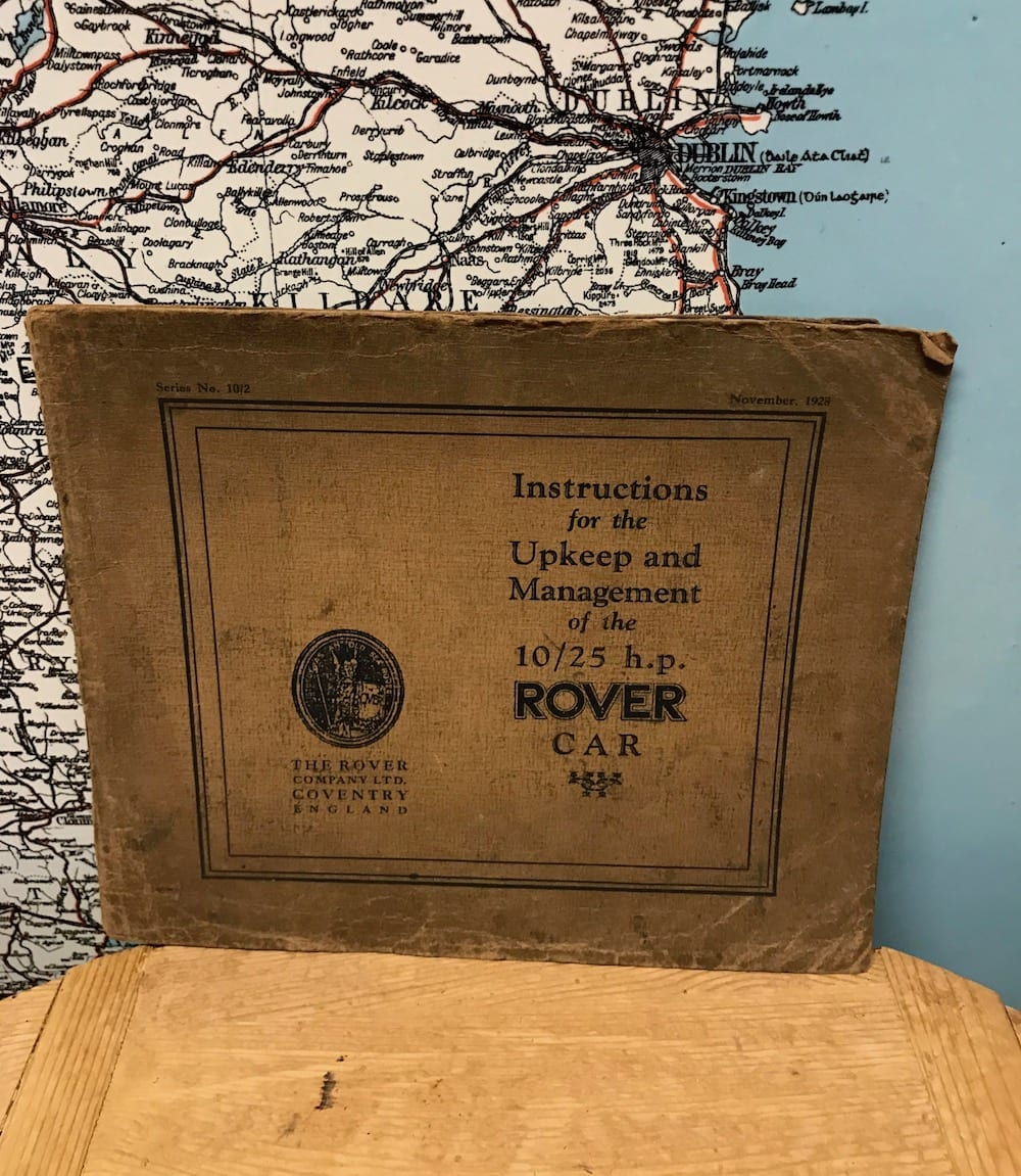 ORIGINAL 1928 10/25 H.P. ROVER CAR INSTRUCTION BOOK/ AVAILABLE - Vintage Motoring UK