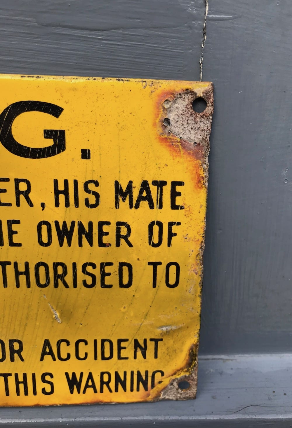 ORIGINAL 'WARNING' ENAMEL SIGN. - Vintage Motoring UK