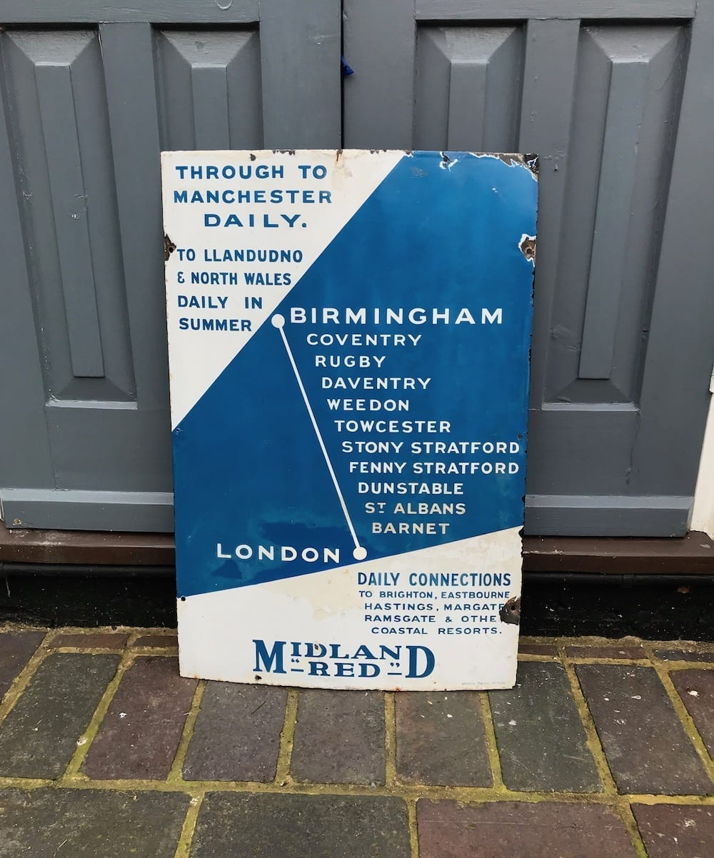 ORIGINAL MIDLAND RED DAILY CONNECTIONS ENAMEL SIGN. - Vintage Motoring UK