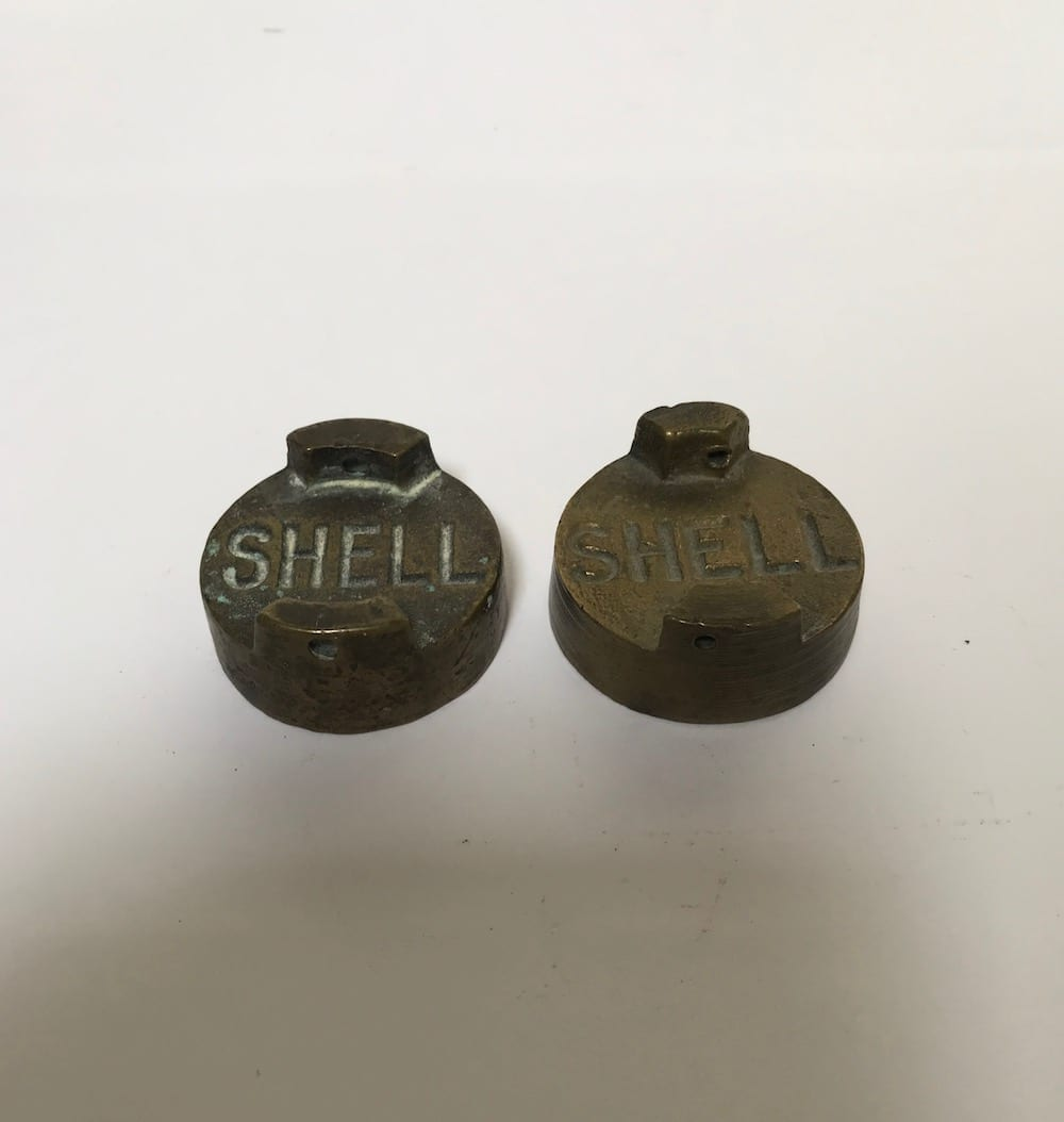 TWO SHELL BRASS PETROL CAPS. - Vintage Motoring UK