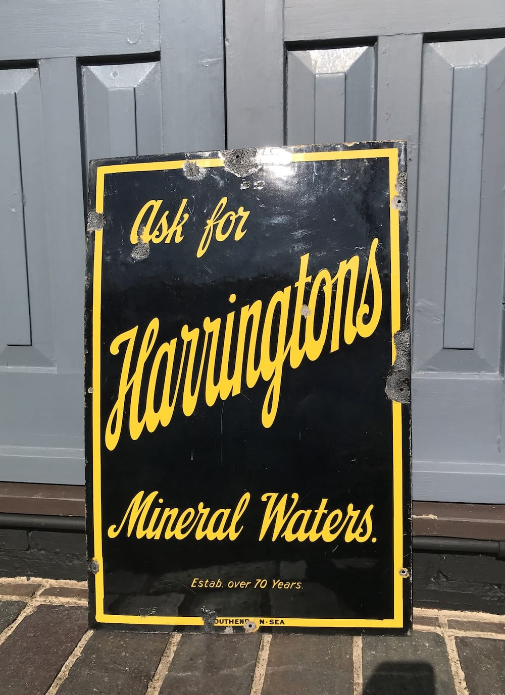 ORIGINAL HARRINGTONS MINERAL WATERS ENAMEL SIGN. - Vintage Motoring UK