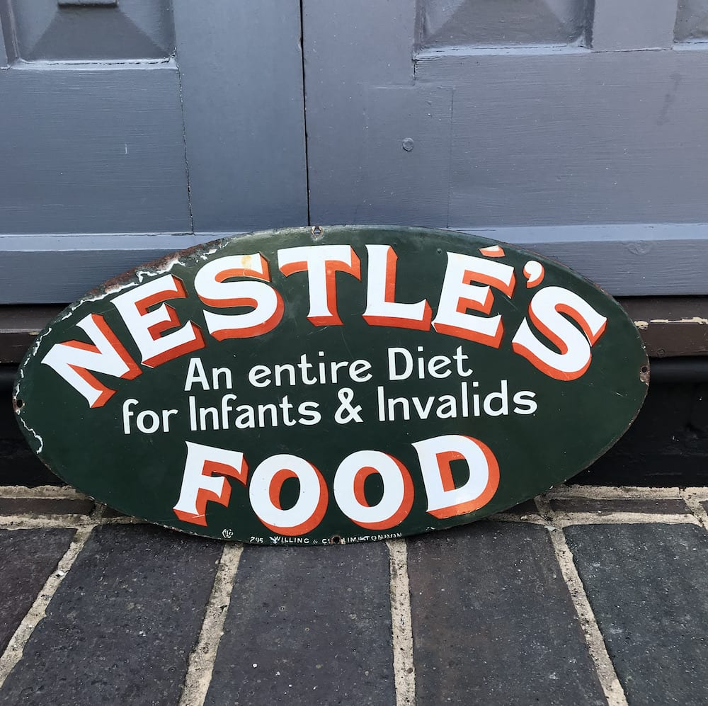 ORIGINAL RARE NESTLE'S FOOD ENAMEL SIGN. - Vintage Motoring UK