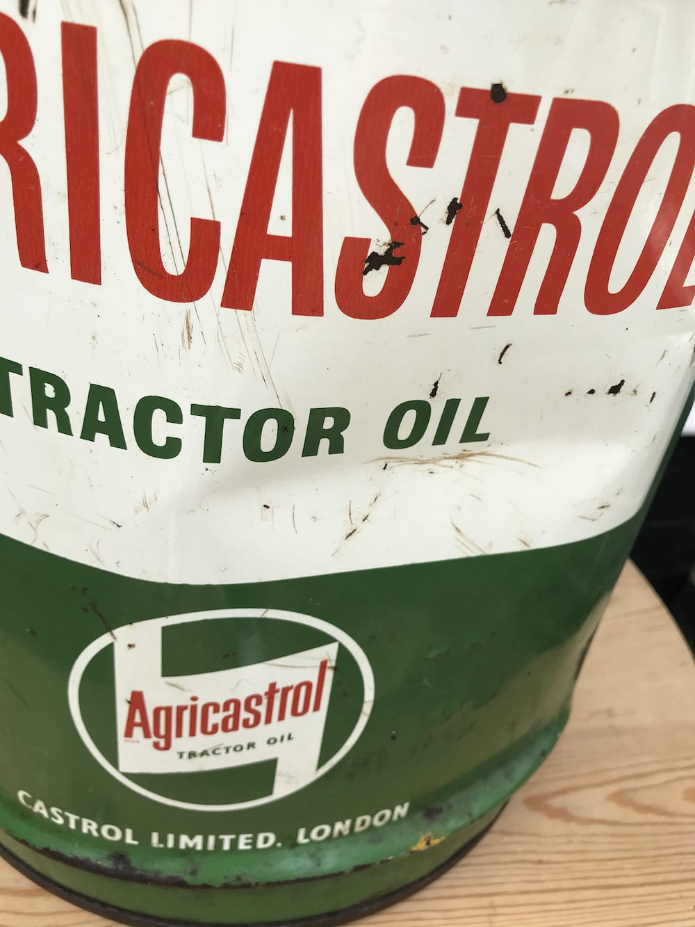 AGRICASTROL TRACTOR OIL FIVE GALLON CONICAL DRUM. - Vintage Motoring UK